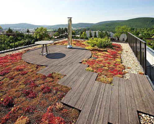 thiết kế sân vườn tầng thượng