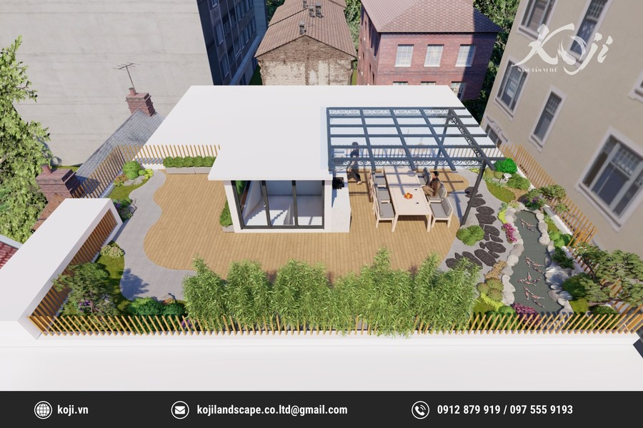 Thiết kế sân vườn tầng 3