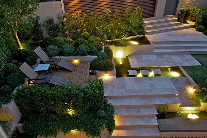 sân vườn kết hợp hệ thống đèn